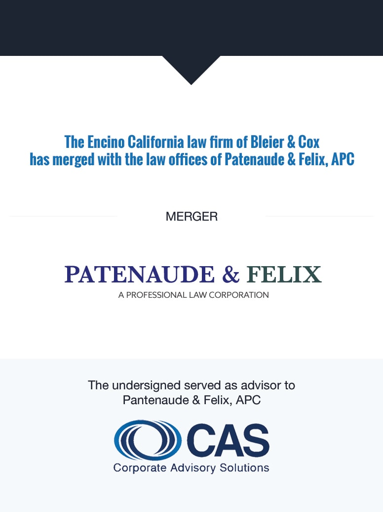 Patenaude & Felix | Select Transaction | Corporate Advisory Solutions